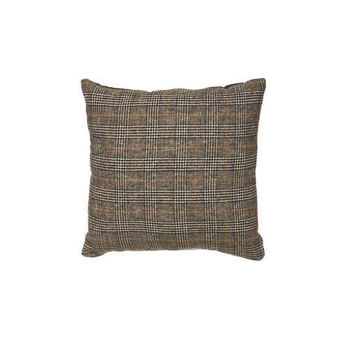 Square Wool Blend Plaid Pillow, Multi Color