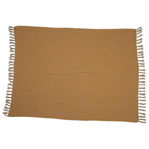 Woven Recycled Cotton Throw w/ Fringe, Mustard Color
