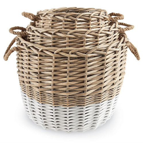 White + Wicker Basket - Set of 3
