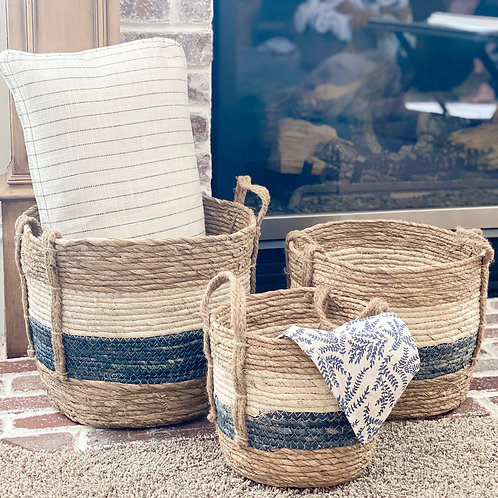 Cream + Blue Baskets