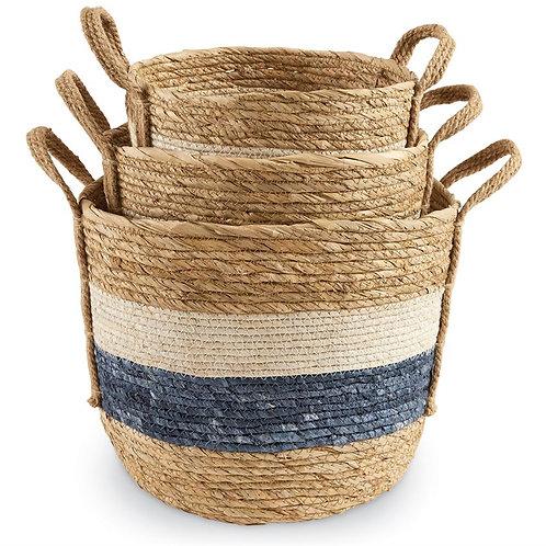 Cream + Blue Baskets - Set of 3