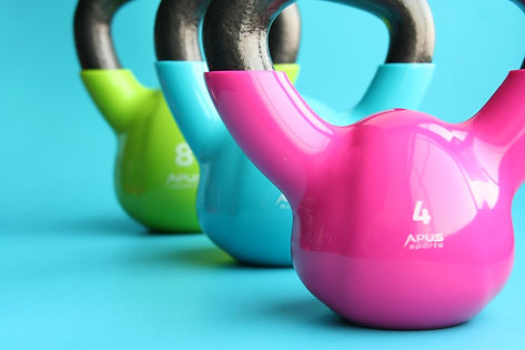 Colourful gym weights