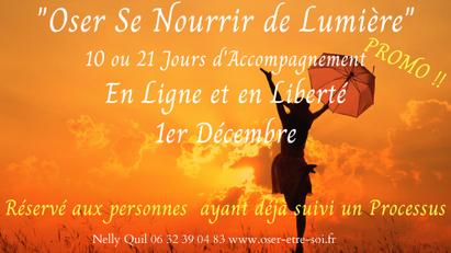 """""""Oser se Nourrir de Lumière"""" en Ligne et en Liberté - Début :  1er Déc."""