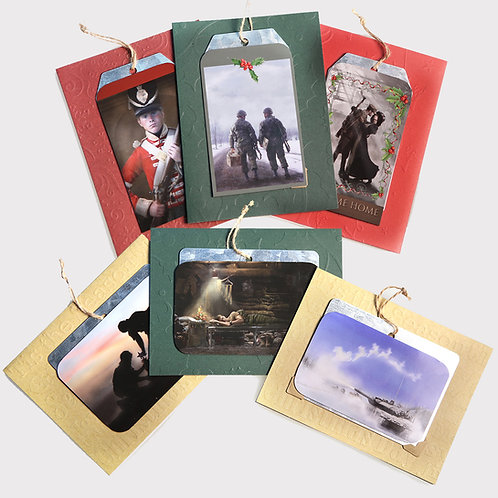 Set of 6 Christmas Cards: Magnetic Ornaments