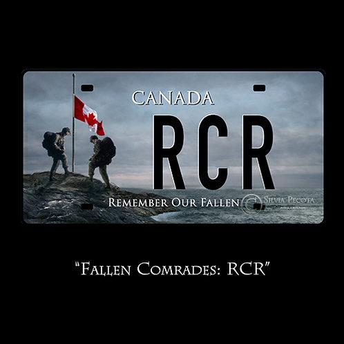 """Fallen Comrades: RCR""  (License Plate)"