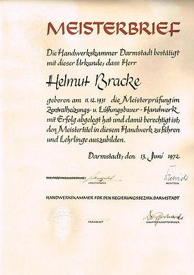 Meisterbrief Helmut Bracke