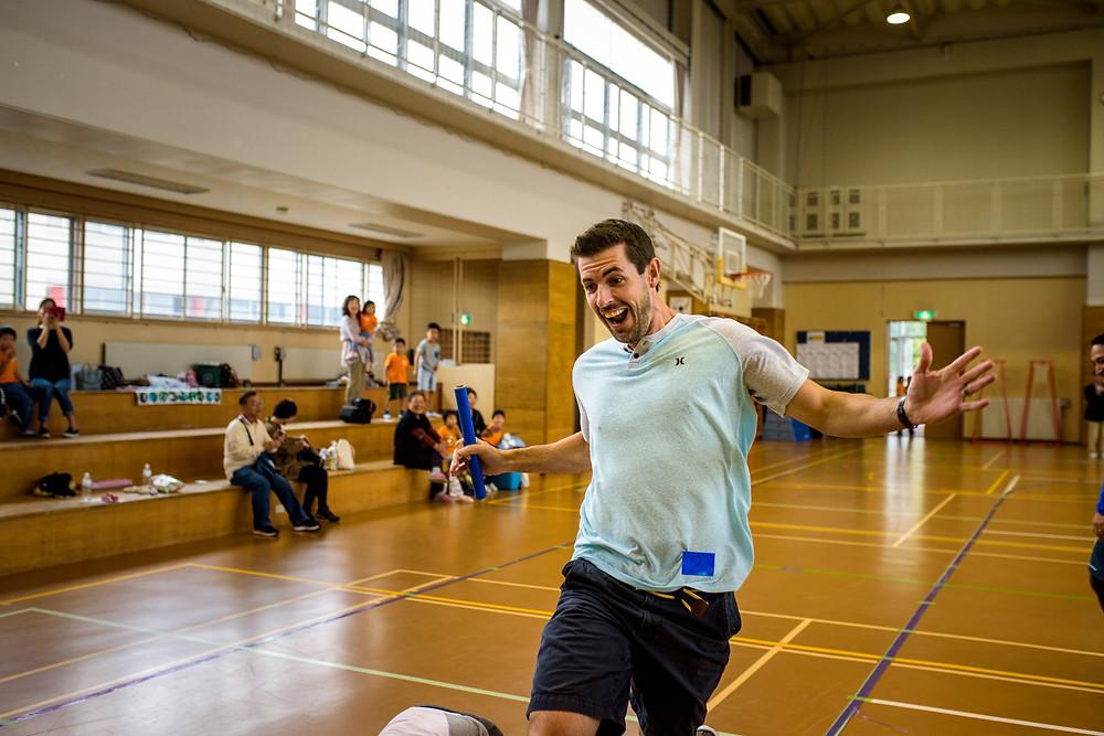 Justin runs the parent relay race