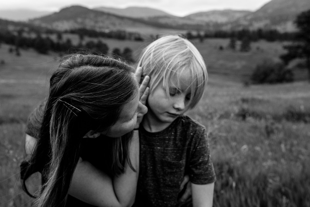 sad boy and his mama