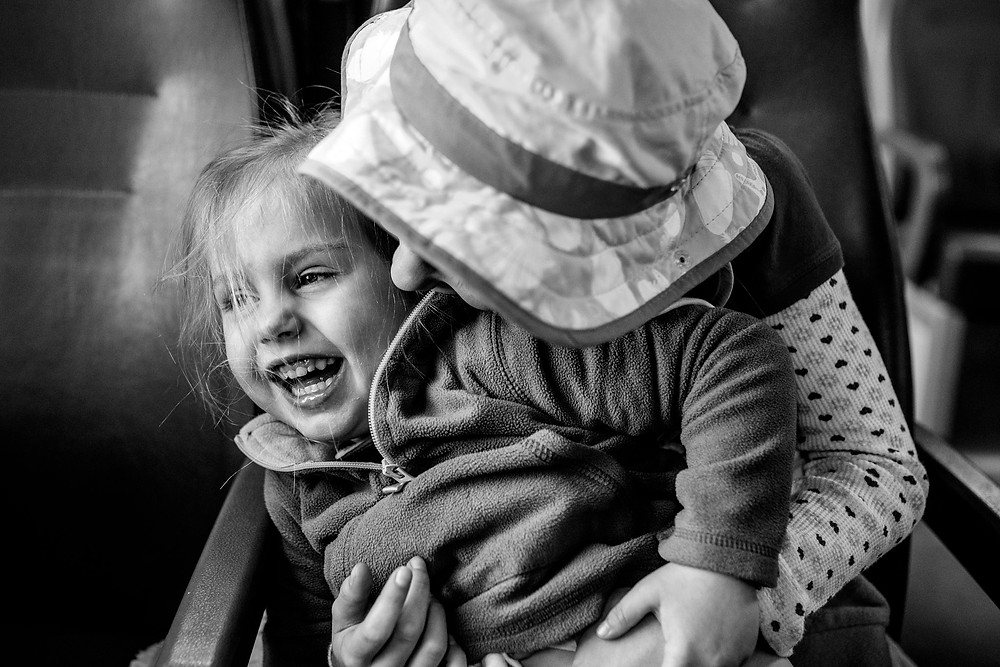 skye and Amelia on the train