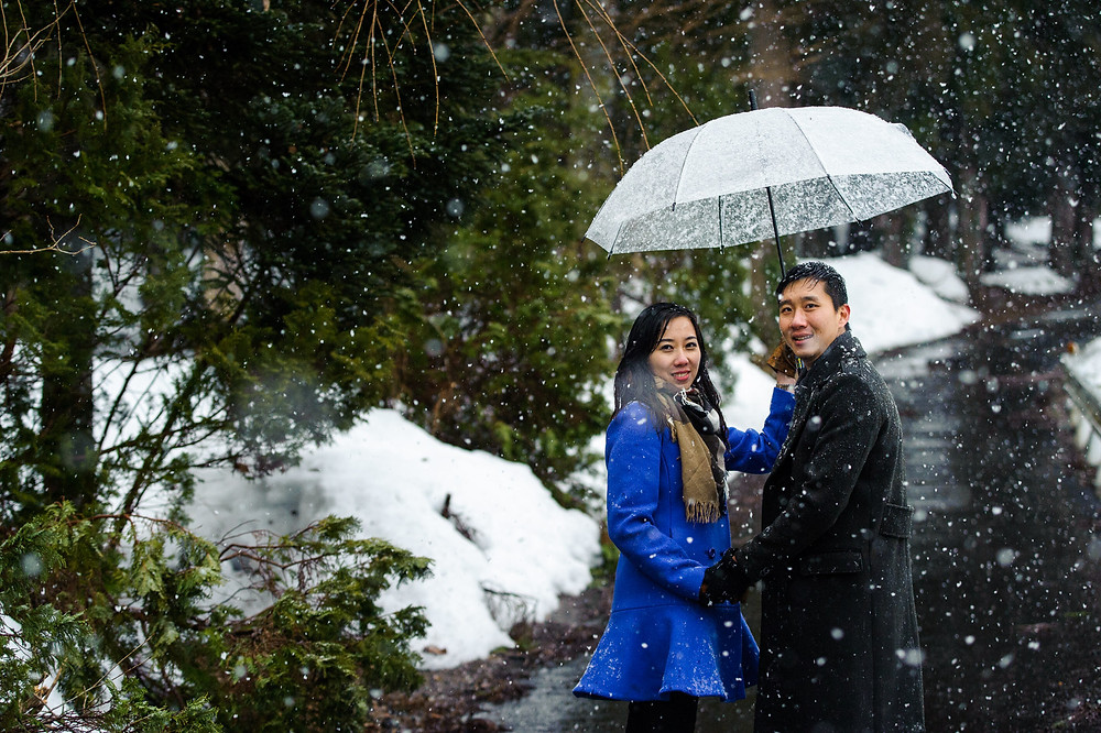 Snow falls and the couple walks up the pathway with their umbrella