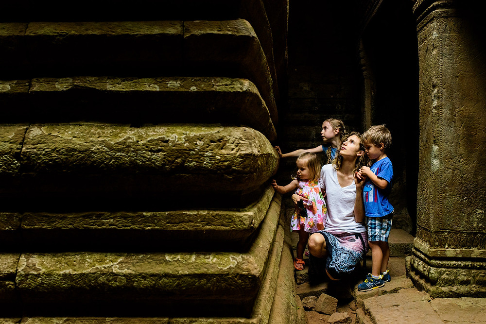 mom and kids exploring at angkor wat