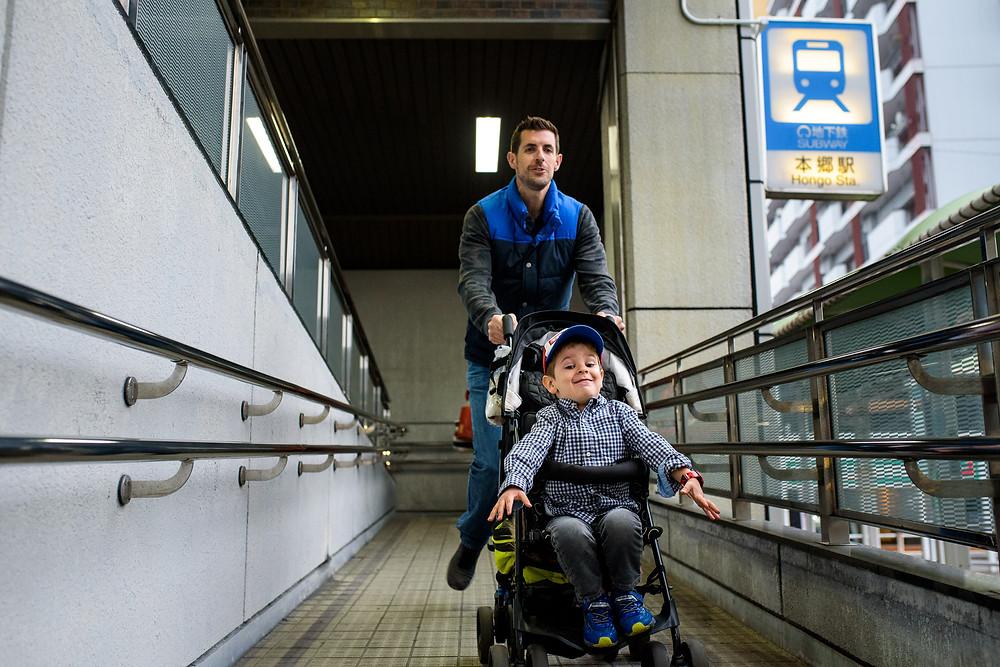 Parker gets a roller coaster ride in the stroller