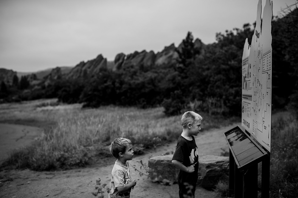 boys looking at the map in the state park