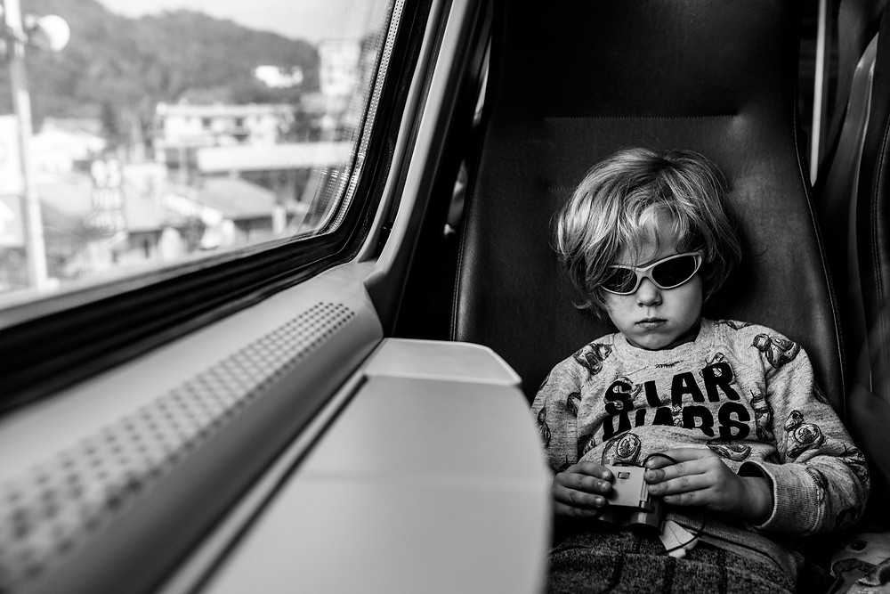 boy on a train