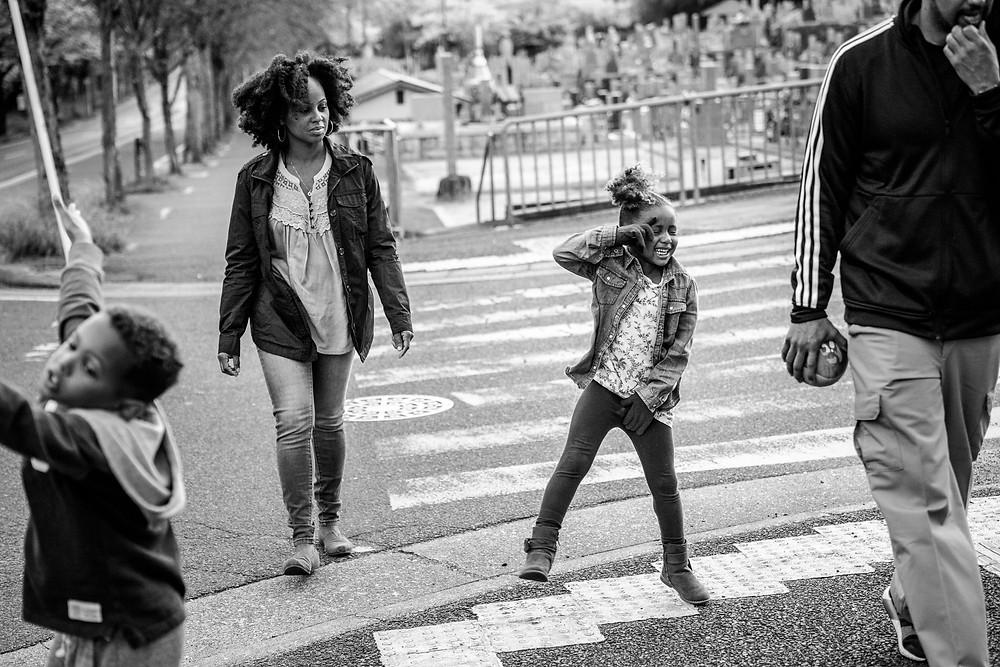 dancing kiddos on a walk