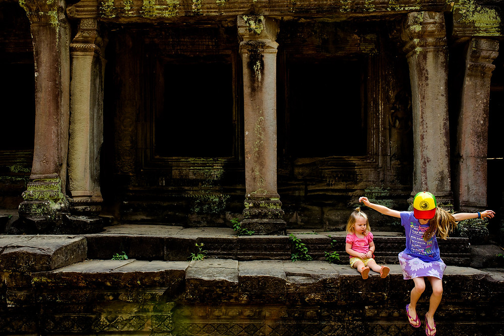 jumping around at angkor wat