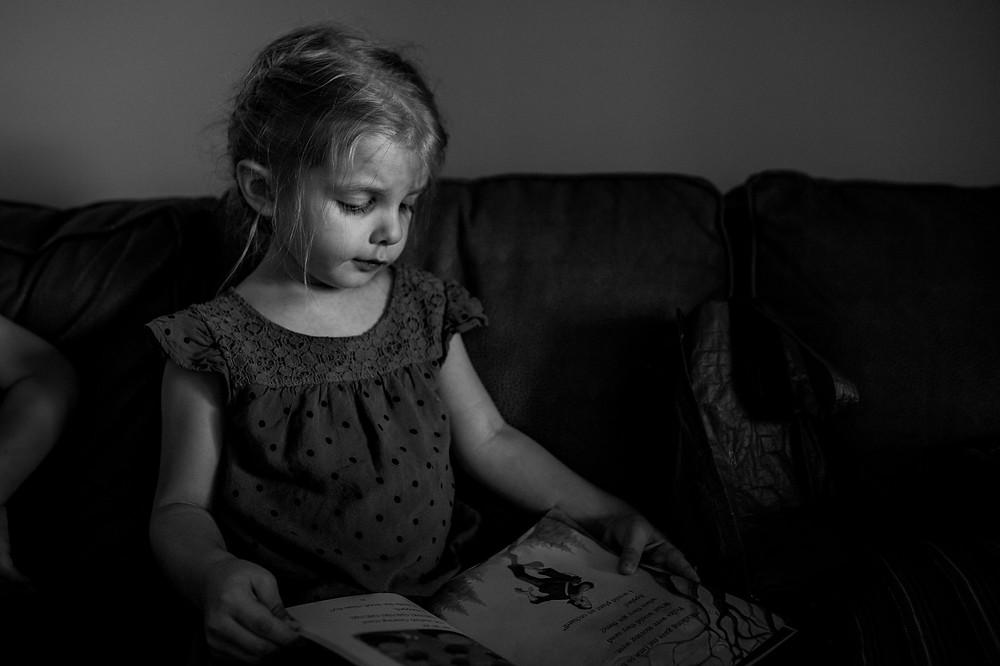 bon-bon reading to herself