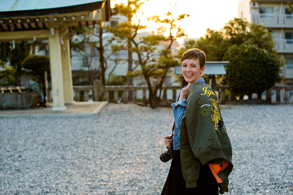 Erinn holding her Japan jacket