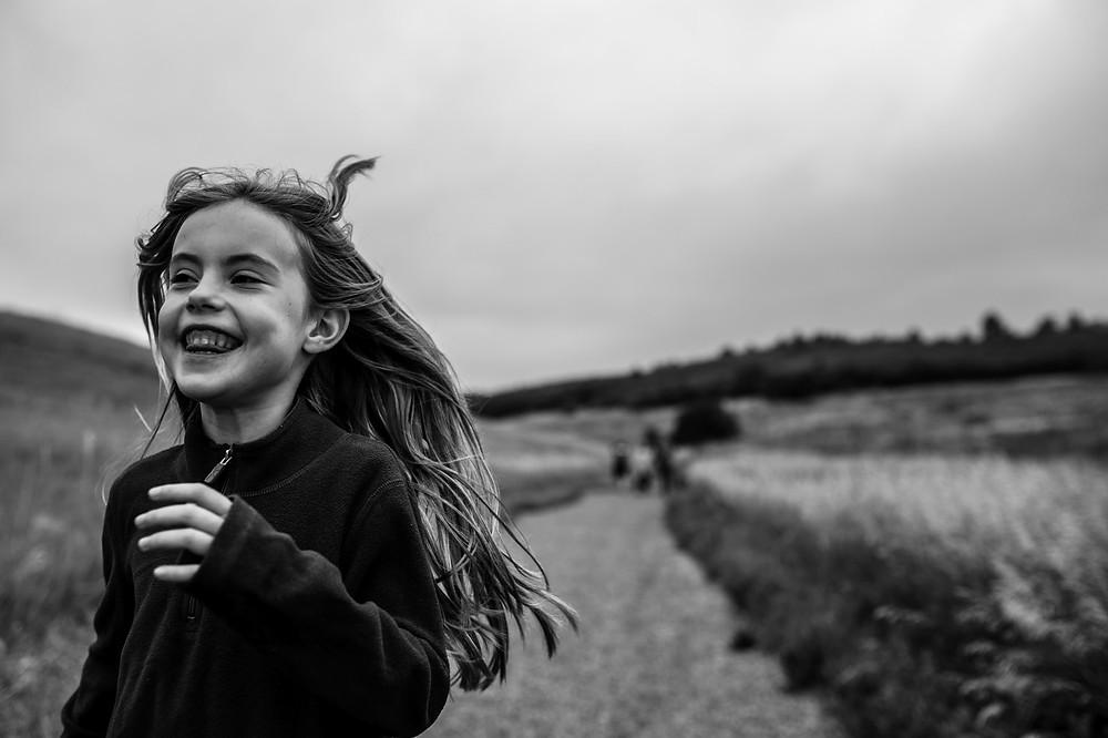 Amelia running along the path