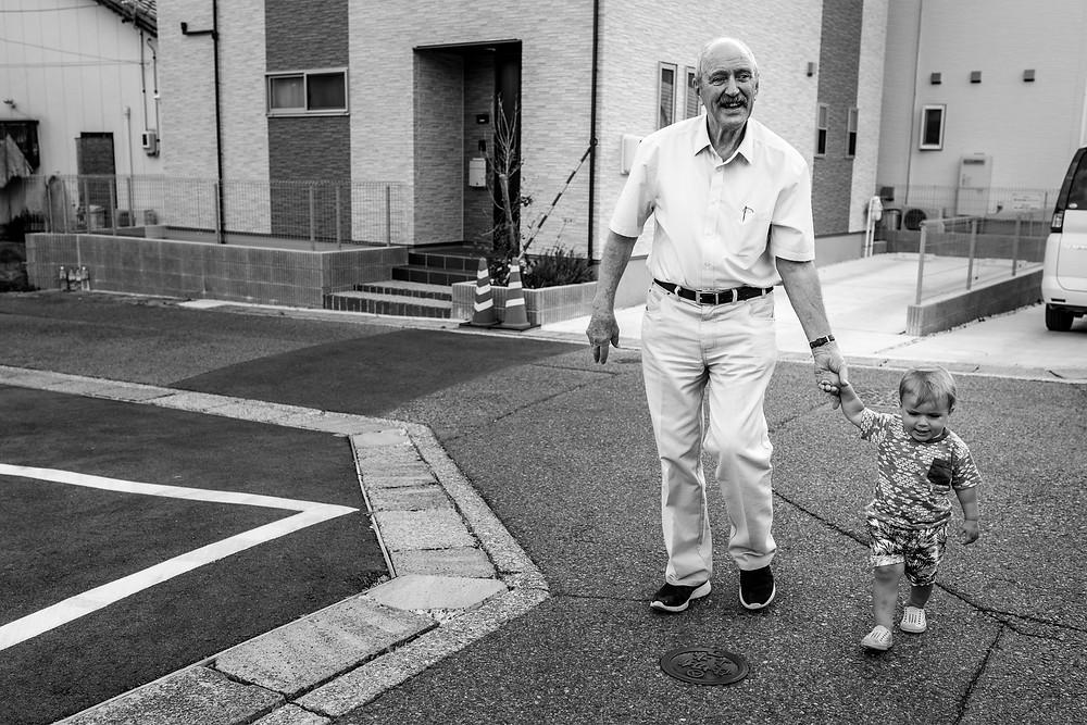 Max and his grandpa walk to the park