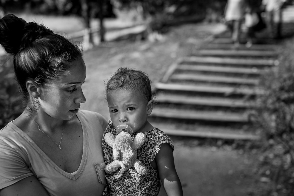 mama and a sad baby