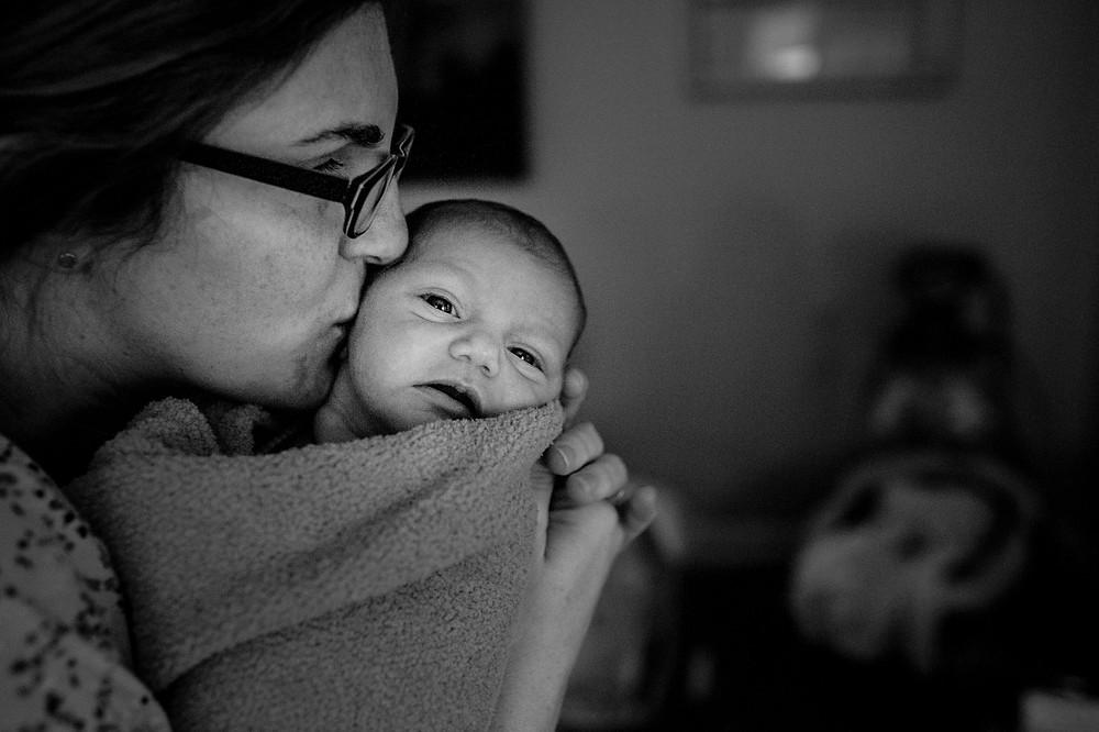 Mama and baby kisses