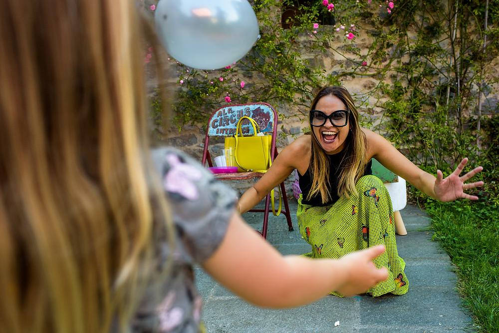 Adri playing balloon games