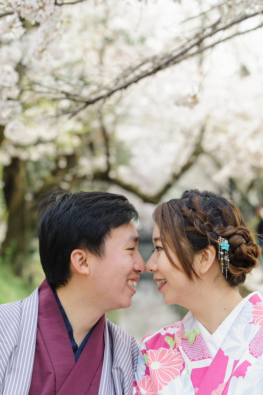 Close up portrait under the sakura