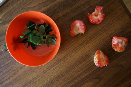 strawberries left behind by big brother
