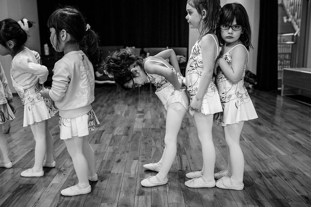 Bentley's dance class being goofy in line