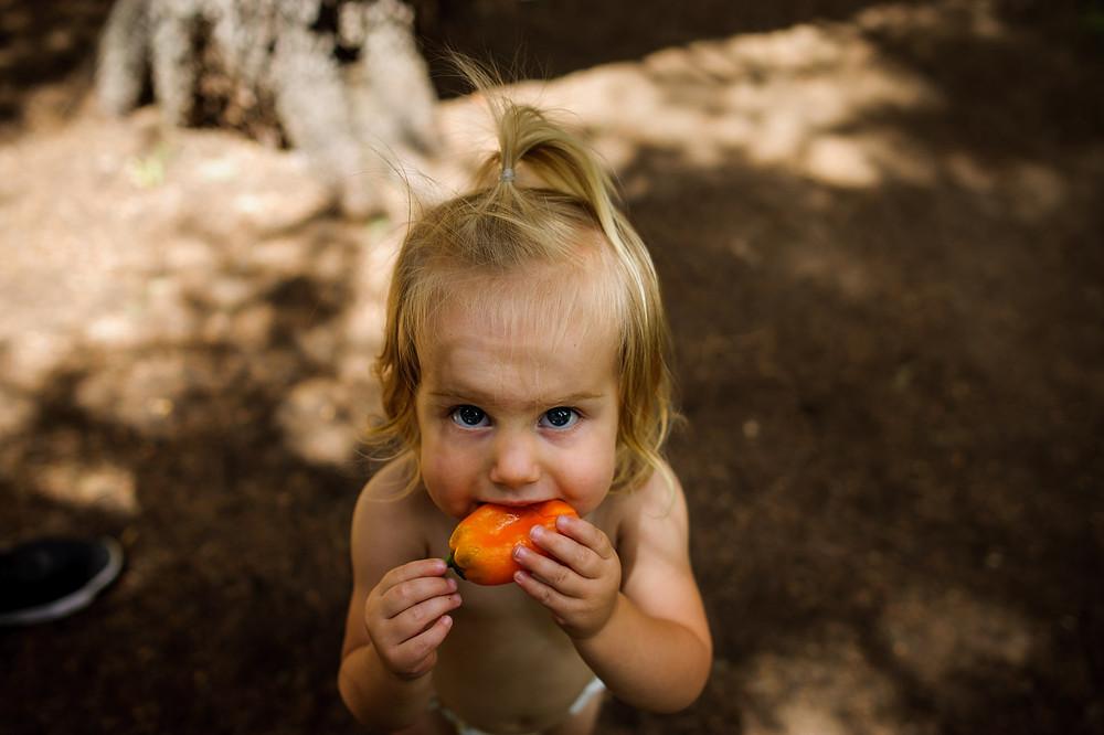 skye eats her sweet pepper in her diaper