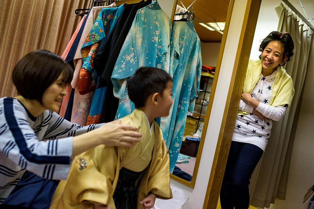Permana family gets hair done and gets dressed into kimonos