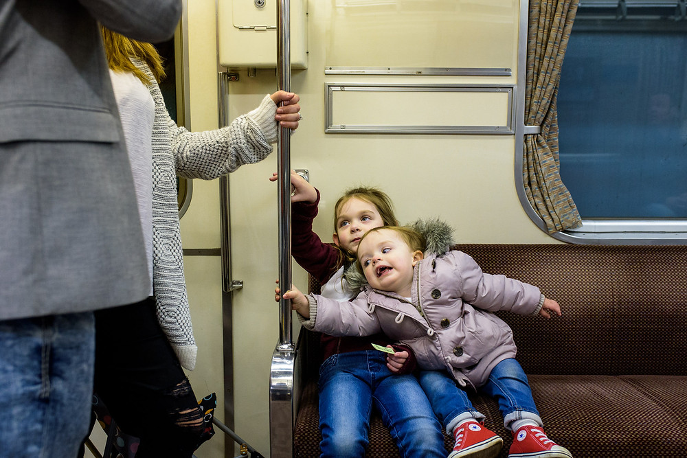 Girls on a subway train