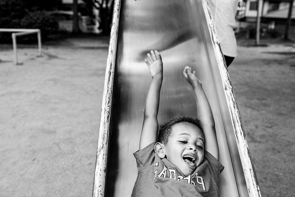 Jackson on the slide