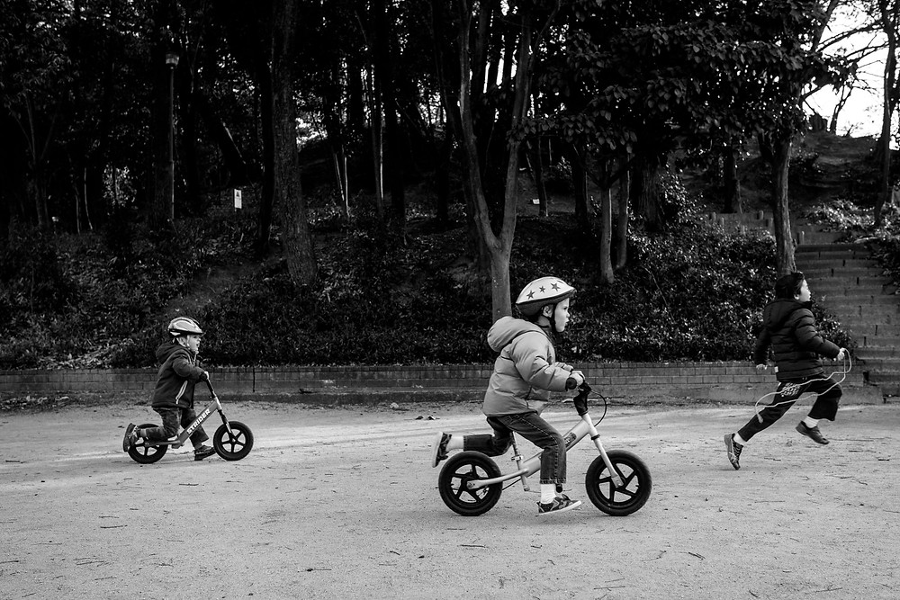 boys race on their bikes in the park