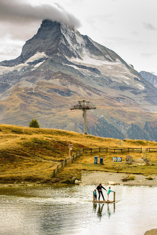 Brad and kids at the Matterhorn