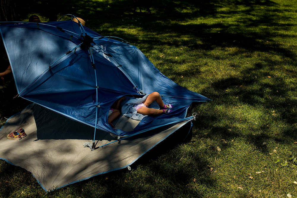 Kid in a tent
