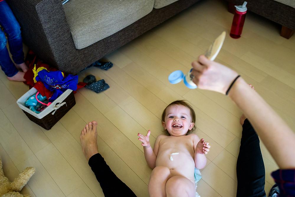Tatum gets baby lotion
