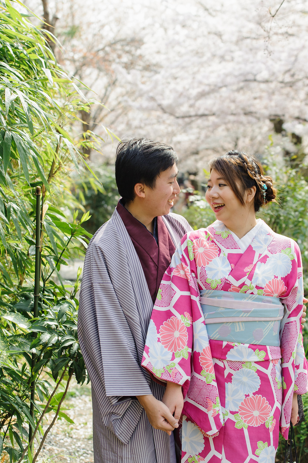 Laughing together in Kimonos