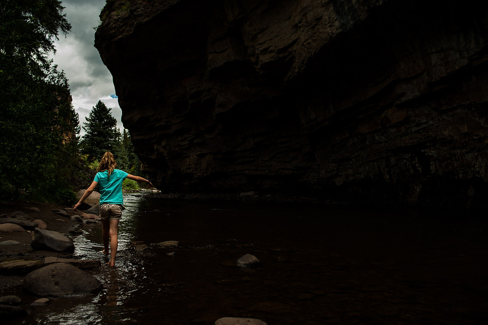 Amelia wanders in the river
