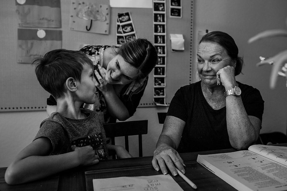 Grandma teaching Gray to read