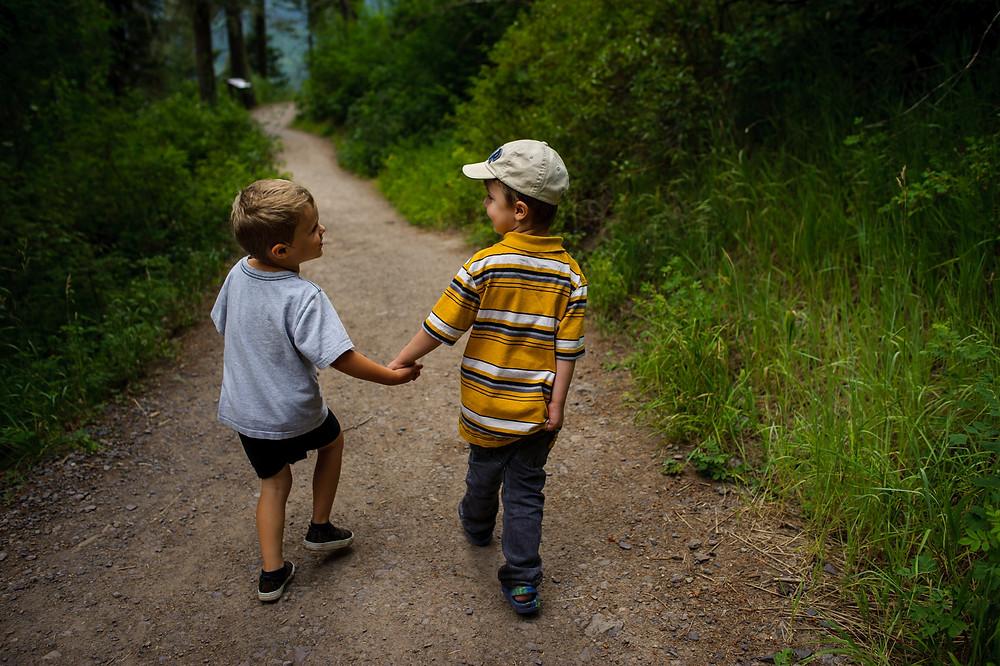 Dean and Colt hiking together
