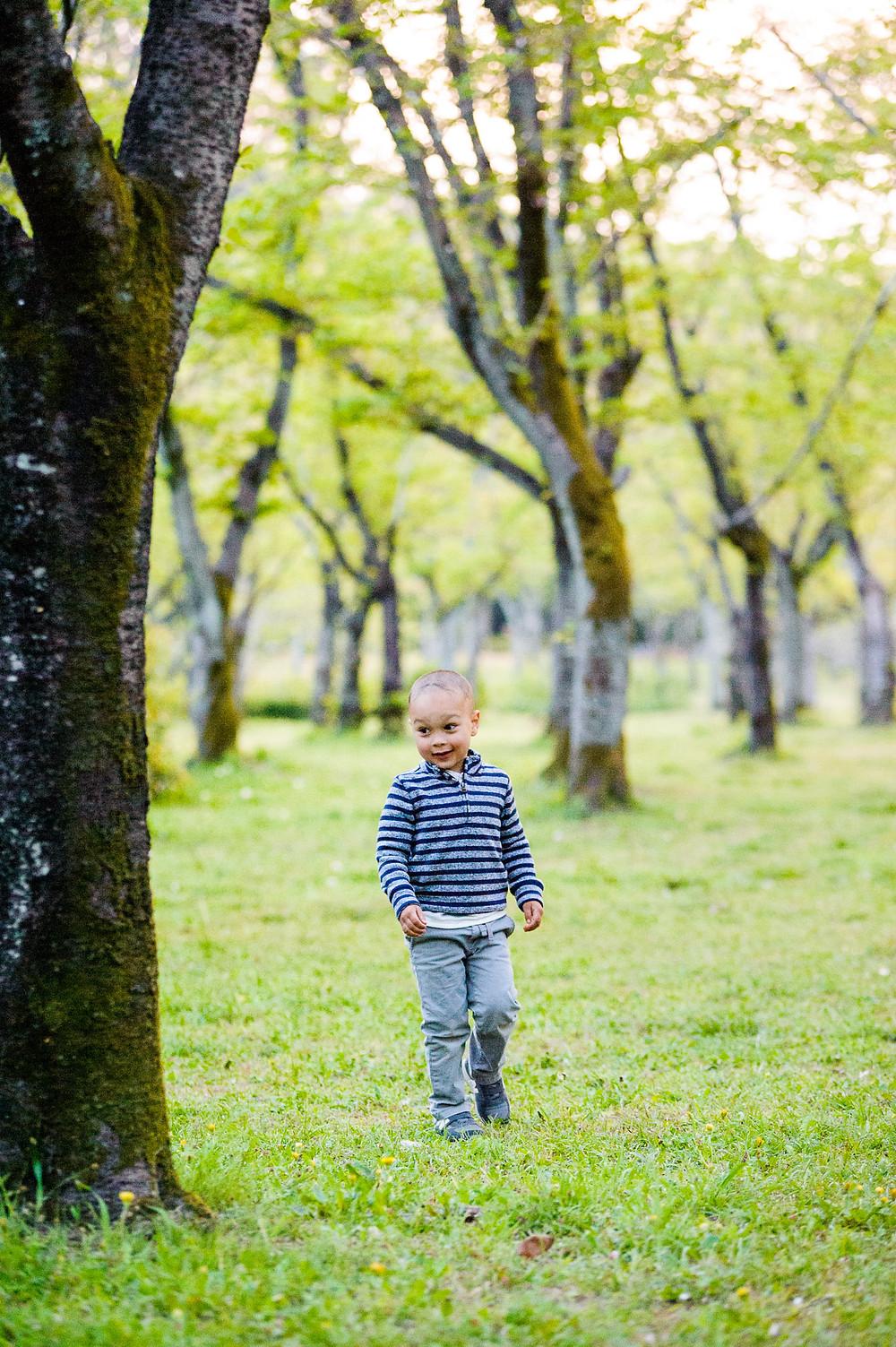 Braxton walks through the trees