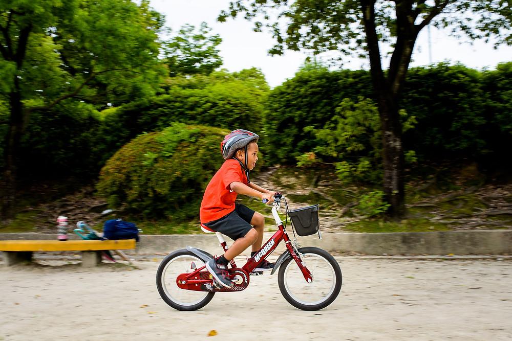 Jackson rides his bike