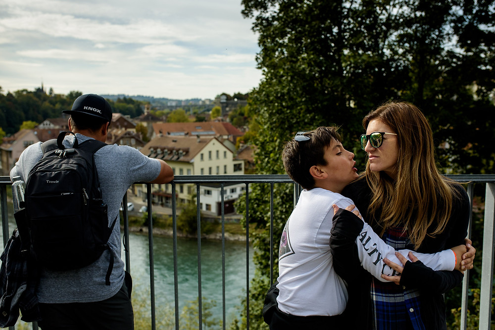 mom and her son in Bern, Switzerland