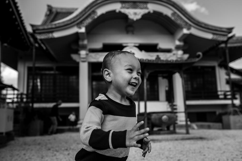Braxton runs like crazy around the grounds at the shrine