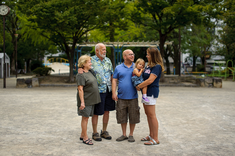 Posed family picture with grandparents