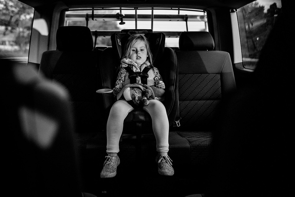 girl during the drive to the hospital