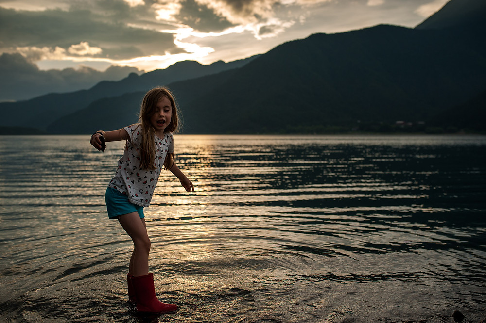 Water in her boots at Lake Saiko