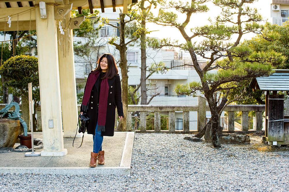 Anna Mae stands by the chozuya